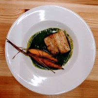 Folkestone huss with pine roasted carrots and nettle broth